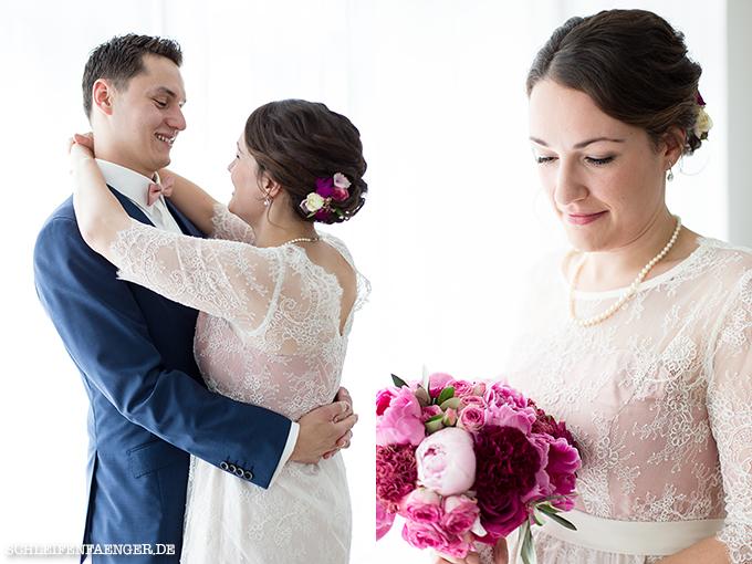 Schleifenfängerbraut: Isabella heiratet Peter im Spitzen-Brautkleid ...