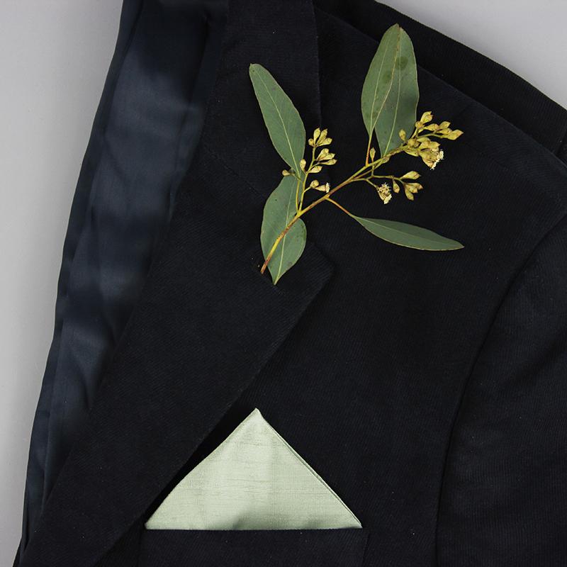 Sehr Einstecktuch aus Seide in Eukalyptusgrün für die Hochzeit QD19