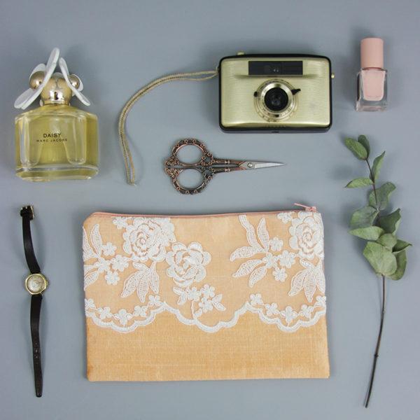Braut-Tasche Seide apricot