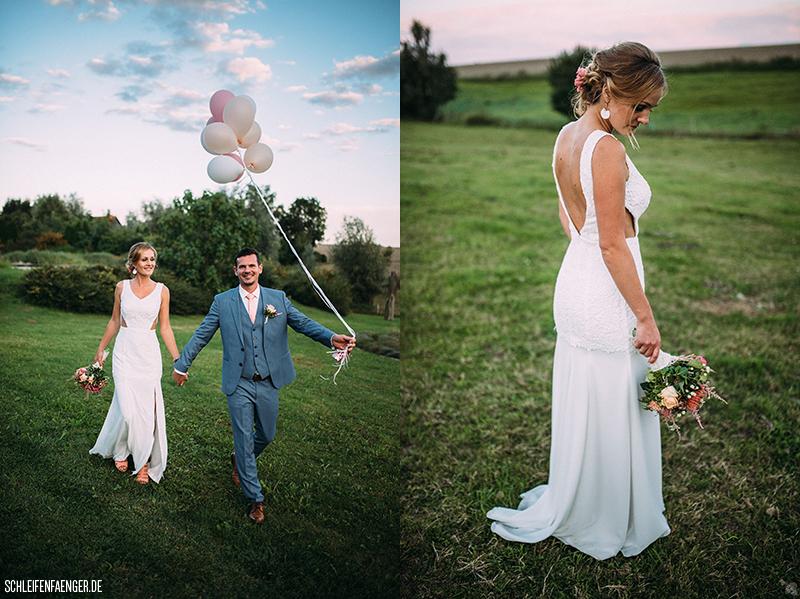Brautkleid mit V-Ausschnitt und tiefem Rücken