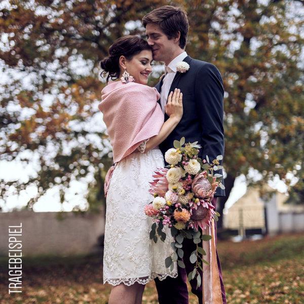 Braut-Stola aus Wolle und Viskose in Senfgelb