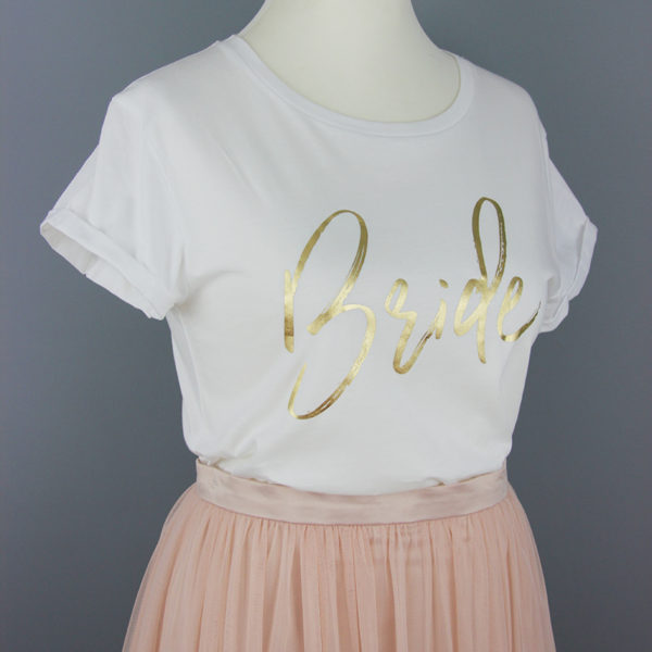 'Bride'-T-Shirt aus Bio-Baumwolle in Weiß