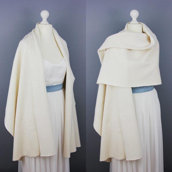 Braut-Stola aus Biobaumwoll-Fleece in Creme