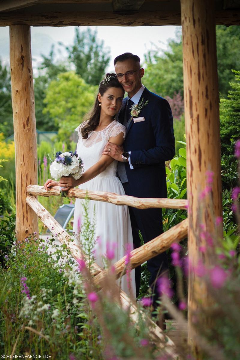 Chiffon-Brautkleid mit Spitzentop