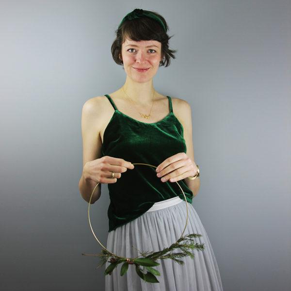 Haarband aus Seidensamt in Smaragdgrün