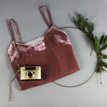 Camisole-Top aus Seidensamt in Rosenquarz