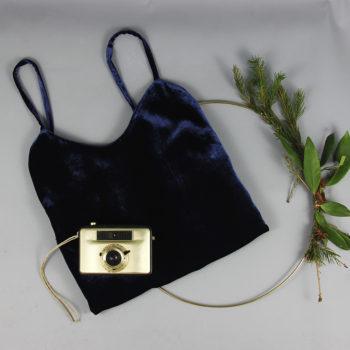 Camisole-Top aus Seidensamt in Saphirblau