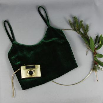 Camisole-Top aus Seidensamt in Smaragdgrün