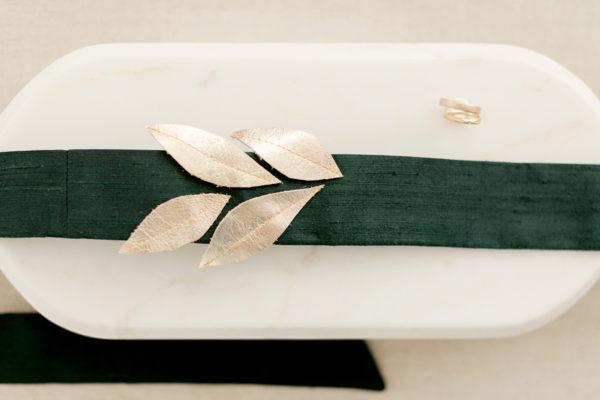 Braut-Gürtel aus Seide in Flaschengrün