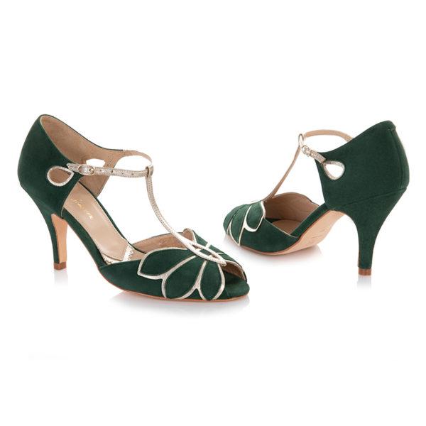 Braut-Schuhe Mimosa in Smaragdgrün