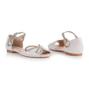 flache Braut-Sandalen Fern in Rosa