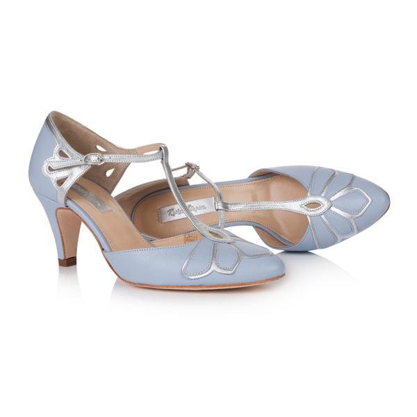 Braut-Schuhe Gardenia in Blau und Silber