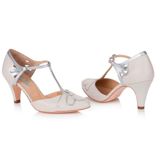 Braut-Schuhe Gardenia in ivory und silber