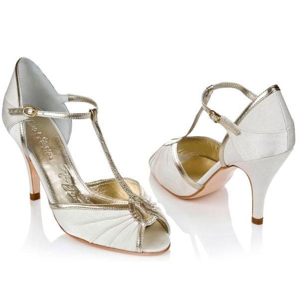 Braut-Peeptoes Mimi in Ivory und Gold
