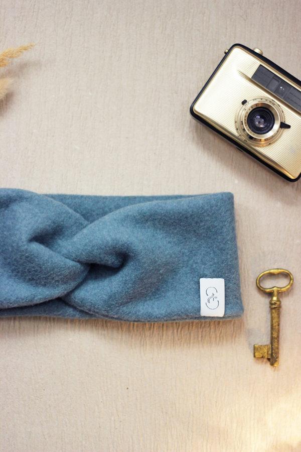 Kuscheliges Stirnband aus Bio-Baumwollfleece in Taubenblau