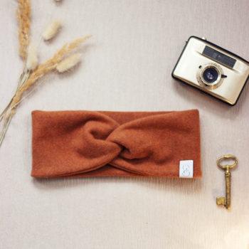 Stirnband aus Bio-Baumwollfleece in Zimtbraun